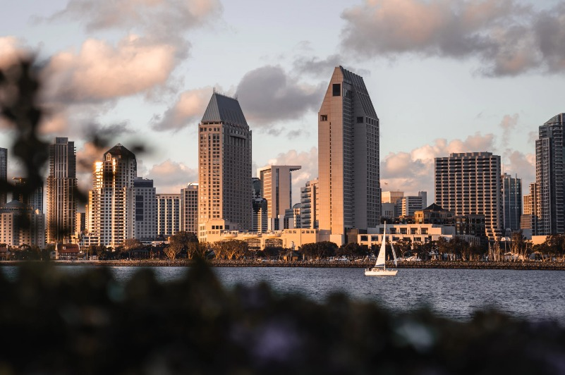 San Diego city over a river featuring a boat